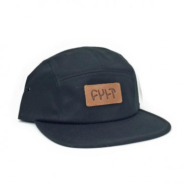 CASQUETTE CULT 5 PANELS LEATHER PATCH BLACK